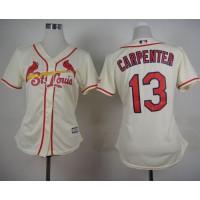 Cardinals #13 Matt Carpenter Cream Alternate Women's Stitched Baseball Jersey