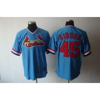 Cardinals #45 Bob Gibson Blue Cooperstown Throwback Stitched Baseball Jersey