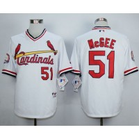 Cardinals #51 Willie McGee White 1982 Turn Back The Clock Stitched Baseball Jersey