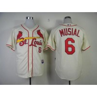 Cardinals #6 Stan Musial Cream Alternate Cool Base Stitched Baseball Jersey