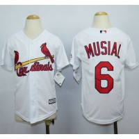 Cardinals #6 Stan Musial White Cool Base Stitched Youth Baseball Jersey