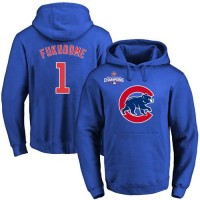 Chicago Cubs #1 Kosuke Fukudome Blue 2016 World Series Champions Primary Logo Pullover Baseball Hoodie