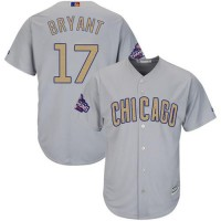 Chicago Cubs #17 Kris Bryant Grey 2017 Gold Program Cool Base Stitched MLB Jersey