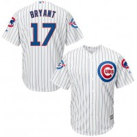 Chicago Cubs #17 Kris Bryant White Strip New Cool Base with 100 Years at Wrigley Field Commemorative Patch Stitched MLB Jersey
