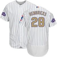 Chicago Cubs #28 Kyle Hendricks White(Blue Strip) Flexbase Authentic 2017 Gold Program Stitched MLB Jersey