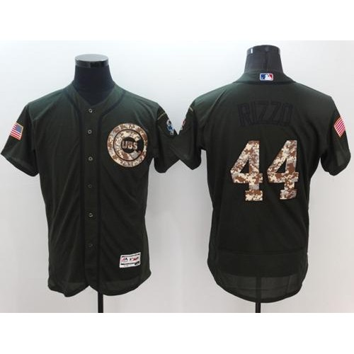 ba98aa078 Chicago Cubs  44 Anthony Rizzo Green Flexbase Authentic Collection Salute  to Service Stitched Baseball Jersey