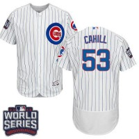 Chicago Cubs #53 Trevor Cahill White Flexbase Authentic Collection 2016 World Series Bound Stitched Baseball Jersey