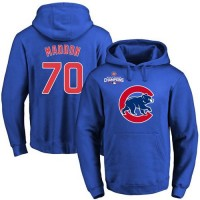 Chicago Cubs #70 Joe Maddon Blue 2016 World Series Champions Primary Logo Pullover Baseball Hoodie