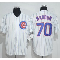 Chicago Cubs #70 Joe Maddon White(Blue Strip) New Cool Base Stitched MLB Jersey