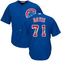 Chicago Cubs #71 Wade Davis Blue Team Logo Fashion Stitched MLB Jersey