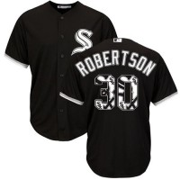Chicago White Sox #30 David Robertson Black Team Logo Fashion Stitched MLB Jersey