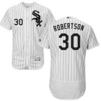 Chicago White Sox #30 David Robertson White(Black Strip) Flexbase Authentic Collection Stitched MLB Jersey