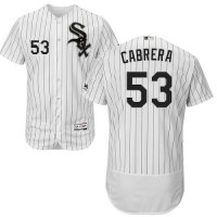 Chicago White Sox #53 Melky Cabrera White(Black Strip) Flexbase Authentic Collection Stitched MLB Jerseys