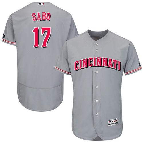 01433272f Cincinnati Reds  17 Chris Sabo Grey Flexbase Authentic Collection Stitched MLB  Jersey