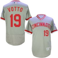 Cincinnati Reds #19 Joey Votto Grey Flexbase Authentic Collection Cooperstown Stitched Baseball Jersey