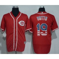 Cincinnati Reds #19 Joey Votto Red USA Flag Fashion Stitched Baseball Jersey