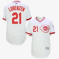 Cincinnati Reds #21 Michael Lorenzen White Flexbase Authentic Collection Cooperstown Stitched Baseball Jersey