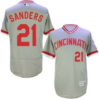 Cincinnati Reds #21 Reggie Sanders Grey Flexbase Authentic Collection Cooperstown Stitched Baseball Jersey