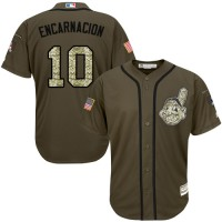 Cleveland Indians #10 Edwin Encarnacion Green Salute to Service Stitched MLB Jersey