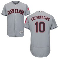 Cleveland Indians #10 Edwin Encarnacion Grey Flexbase Authentic Collection Stitched MLB Jersey