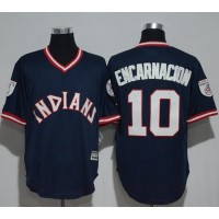 Cleveland Indians #10 Edwin Encarnacion Navy Blue 1976 Turn Back The Clock Stitched MLB Jersey