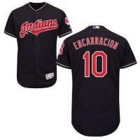 Cleveland Indians #10 Edwin Encarnacion Navy Blue Flexbase Authentic Collection Stitched MLB Jersey