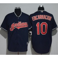 Cleveland Indians #10 Edwin Encarnacion Navy Blue New Cool Base Stitched MLB Jersey