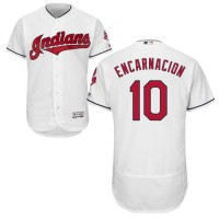 Cleveland Indians #10 Edwin Encarnacion White Flexbase Authentic Collection Stitched MLB Jersey