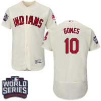 Cleveland Indians #10 Yan Gomes Cream Flexbase Authentic Collection 2016 World Series Bound Stitched Baseball Jersey