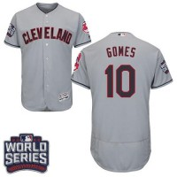 Cleveland Indians #10 Yan Gomes Grey Flexbase Authentic Collection 2016 World Series Bound Stitched Baseball Jersey
