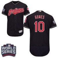 Cleveland Indians #10 Yan Gomes Navy Blue Flexbase Authentic Collection 2016 World Series Bound Stitched Baseball Jersey