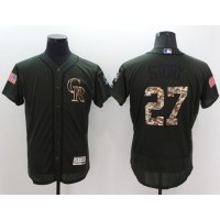 Colorado Rockies #27 Trevor Story Green Flexbase Authentic Collection Salute to Service Stitched Baseball Jersey