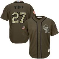 Colorado Rockies #27 Trevor Story Green Salute to Service Stitched MLB Jersey