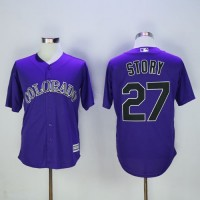 Colorado Rockies #27 Trevor Story Purple New Cool Base Stitched Baseball Jersey