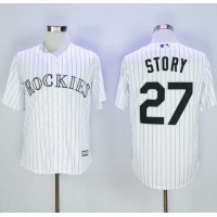 Colorado Rockies #27 Trevor Story White Strip New Cool Base Stitched MLB Jersey