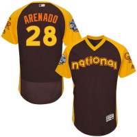 Colorado Rockies #28 Nolan Arenado Brown Flexbase Authentic Collection 2016 All-Star National League Stitched Baseball Jersey