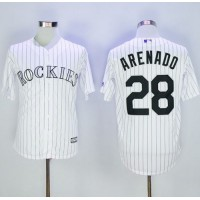 Colorado Rockies #28 Nolan Arenado White Strip New Cool Base Stitched MLB Jersey