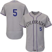 Colorado Rockies #5 Carlos Gonzalez Grey Flexbase Authentic Collection Stitched MLB Jersey