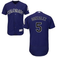 Colorado Rockies #5 Carlos Gonzalez Purple Flexbase Authentic Collection Stitched MLB Jersey