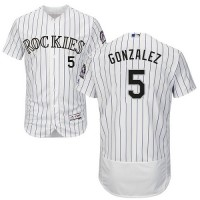 Colorado Rockies #5 Carlos Gonzalez White Strip Flexbase Authentic Collection Stitched MLB Jersey
