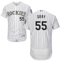 Colorado Rockies #55 Jon Gray White Strip Flexbase Authentic Collection Stitched MLB Jersey