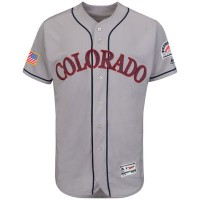Colorado Rockies Blank Grey Stitched 2016 Fashion Stars & Stripes Flex Base Baseball Jersey
