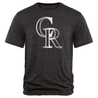 Colorado Rockies Fanatics Apparel Platinum Collection Tri-Blend T-Shirt Black