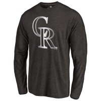 Colorado Rockies Platinum Collection Long Sleeve Tri-Blend T-Shirt Black