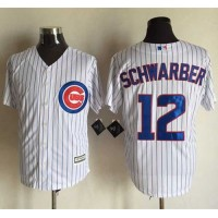 Cubs #12 Kyle Schwarber New White Strip Cool Base Stitched Baseball Jersey