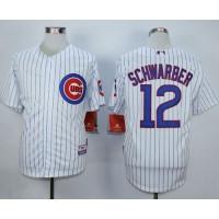 Cubs #12 Kyle Schwarber White Strip Cool Base Stitched Baseball Jersey