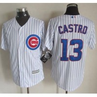 Cubs #13 Starlin Castro White Strip New Cool Base Stitched Baseball Jersey