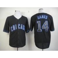 Cubs #14 Ernie Banks Black Fashion Stitched Baseball Jersey