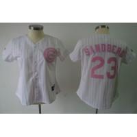 Cubs #23 Ryne Sandberg White Pink Number Women's Fashion Stitched Baseball Jersey