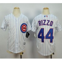 Cubs #44 Anthony Rizzo White(Blue Strip) Cool Base Stitched Youth Baseball Jersey